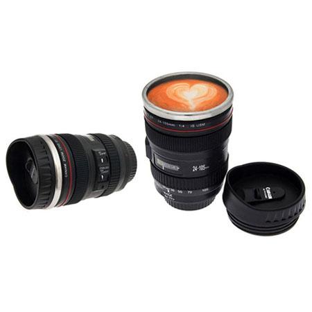 عکس محصول لیوان با طرح لنز دوربین عکاسی